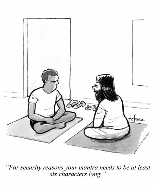 """For security reasons, your mantra needs to be at least six characters  long."""" - Barron's Cartoon -"""
